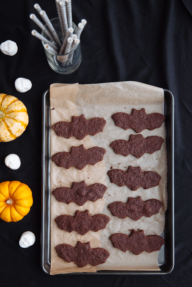 Halloween Bat Cookies with Chocolate, Coffee & Sea salt