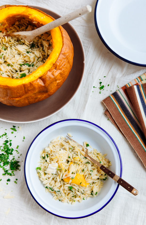 Goat cheese, gruyère & orzo stuffed pumpkin
