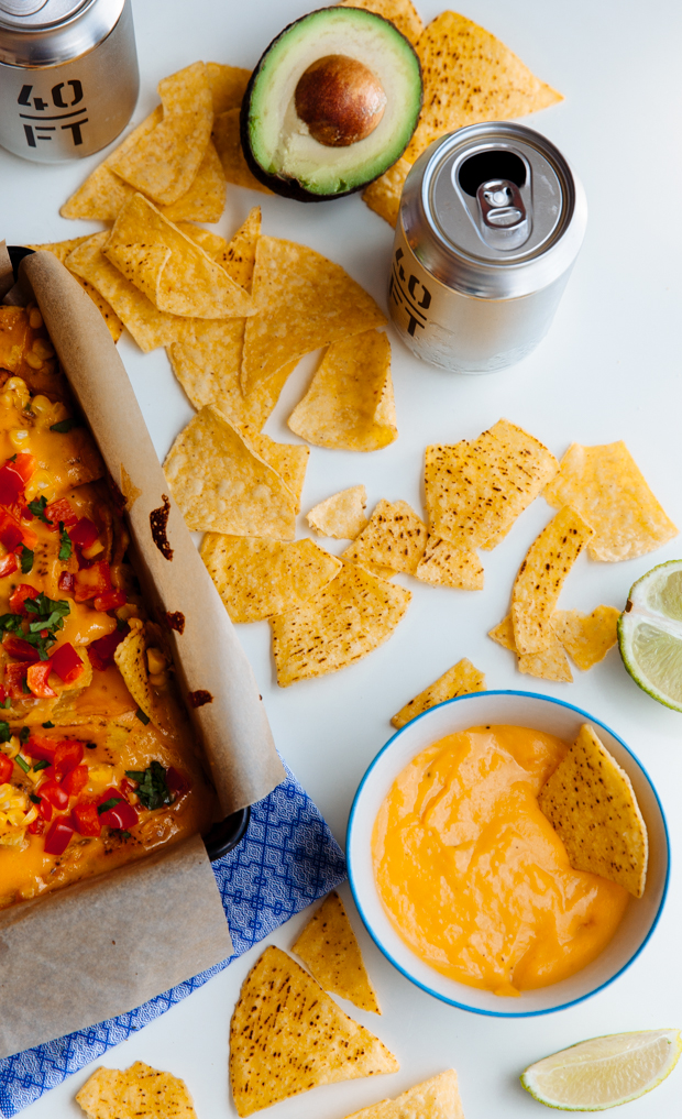 Beer & cheese baked nachos