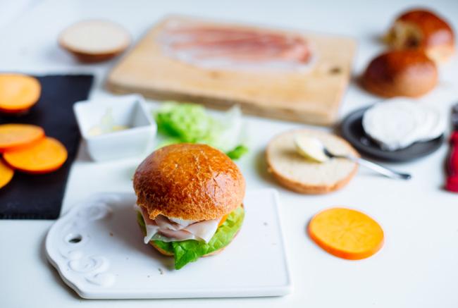 Persimmon, parma ham & goat cheese sandwich