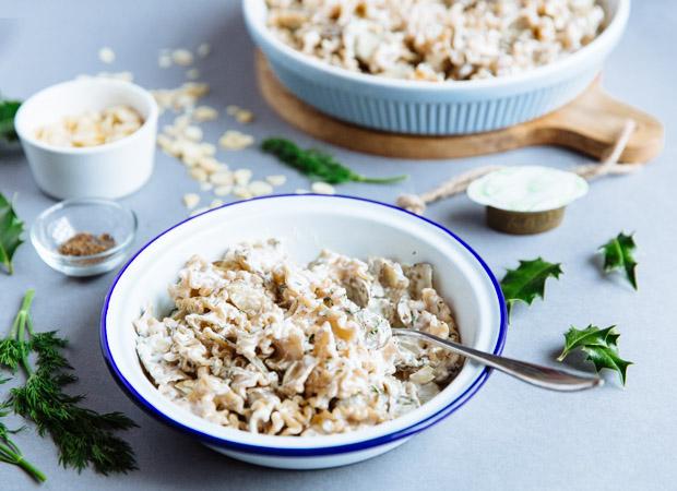 Creamy sunchoke, almond & dill pasta