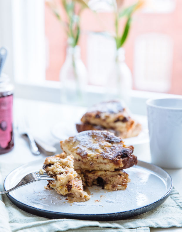 Peanut butter & raspberry jam panettone french toast-4