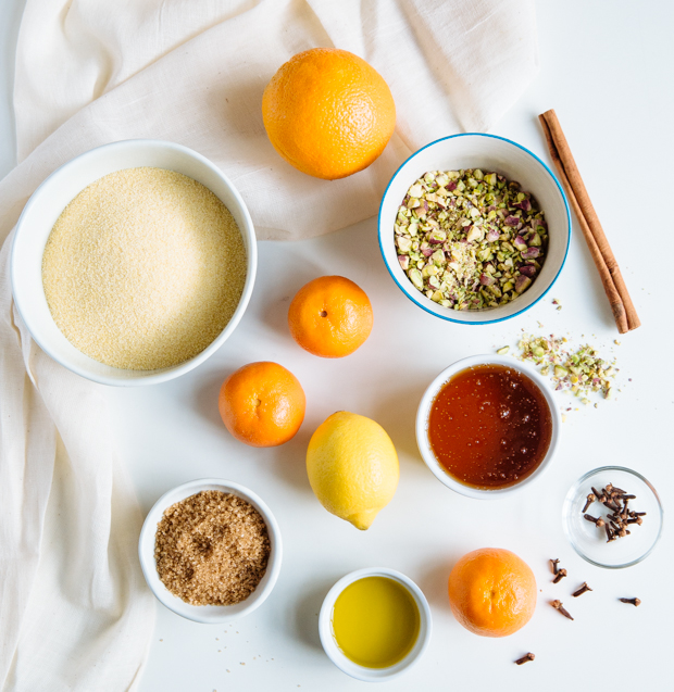 Orange & tangerine Greek semolina cake with pistachios & honey
