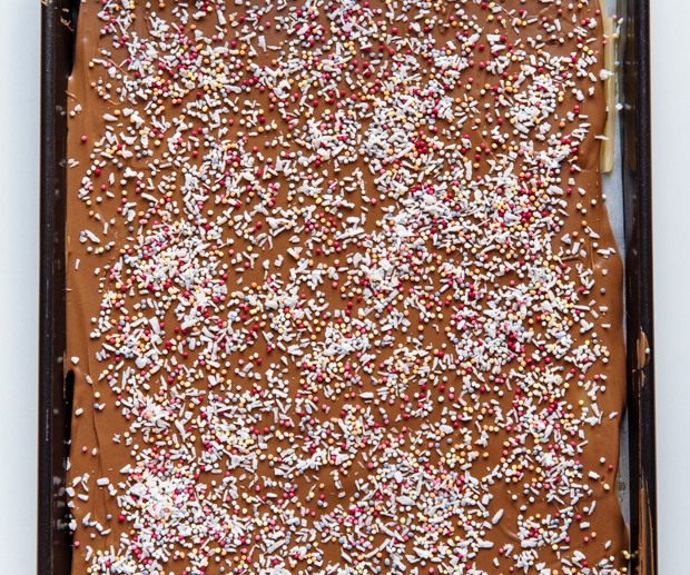 Chocolate, coconut & sprinkle toffee