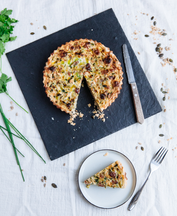 Leek, cherry & goat cheese tart