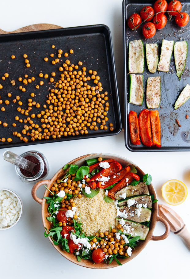 Vegetable couscous with crunchy sumac chickpeas