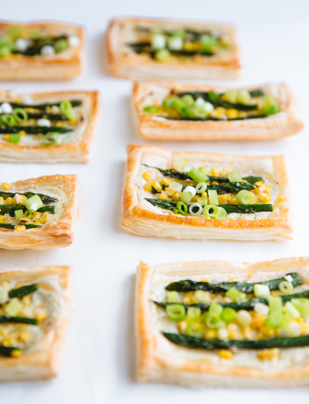 Asparagus, wild garlic & corn cream cheese tartlets