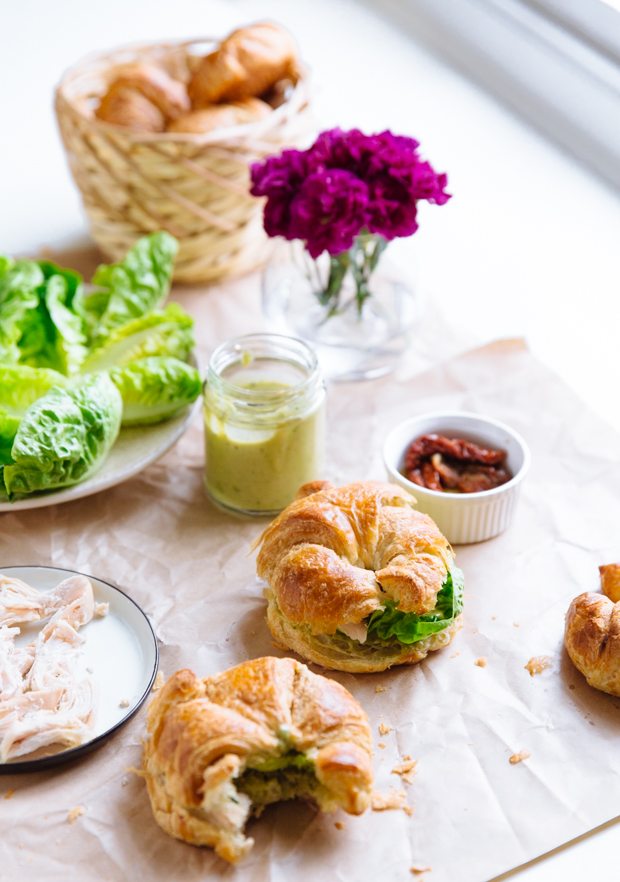 Caesar salad croissant sandwiches