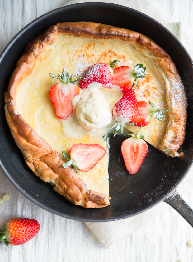 White chocolate & strawberry Dutch baby