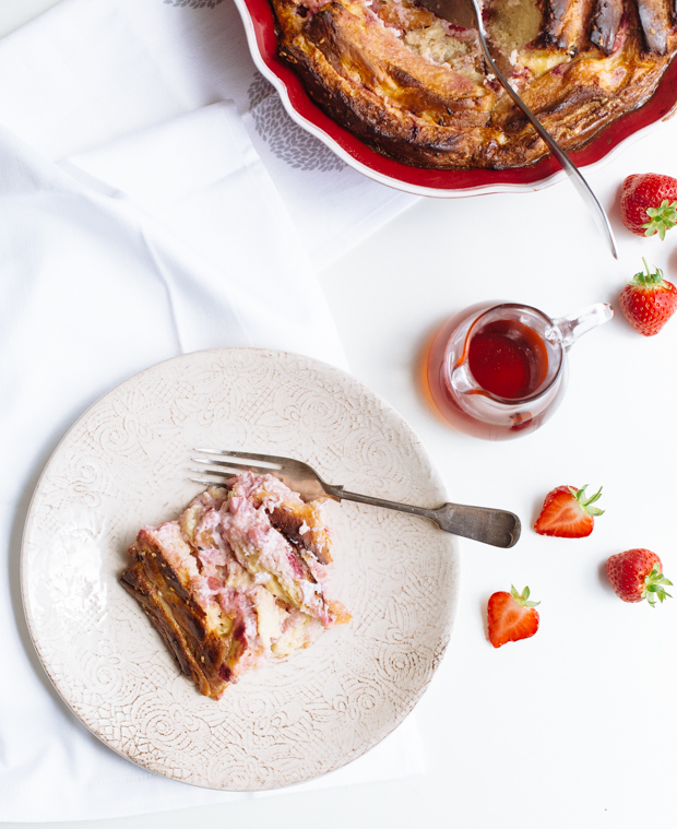 Strawberries & cream cheese bread pudding