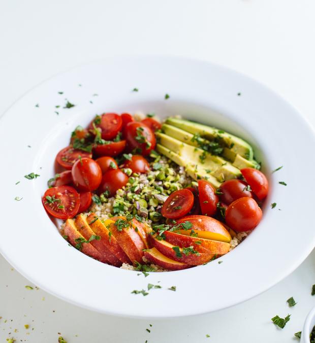 Avocado, nectarine & pistachio quinoa salad
