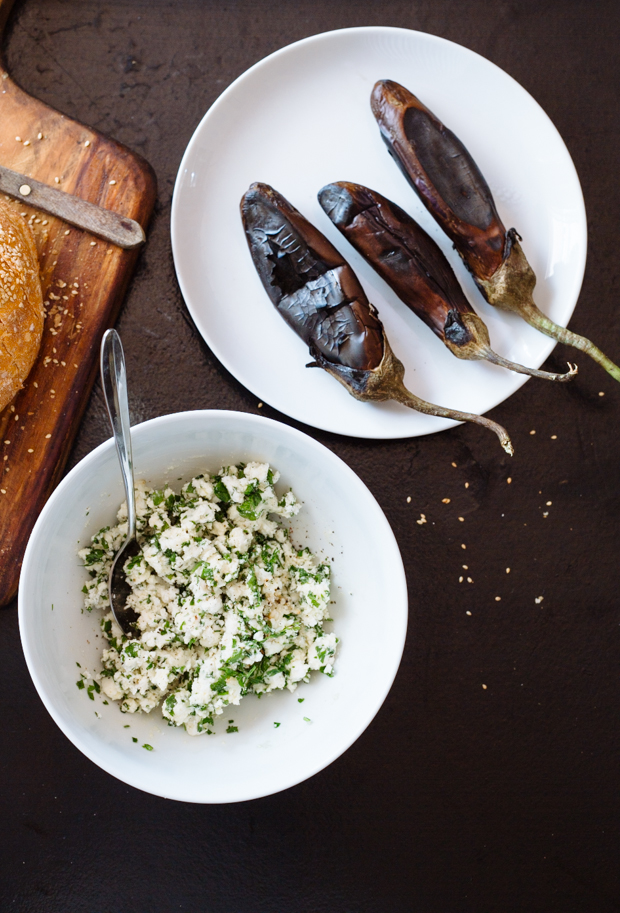 Aubergine, garlic & feta stuffed loaf