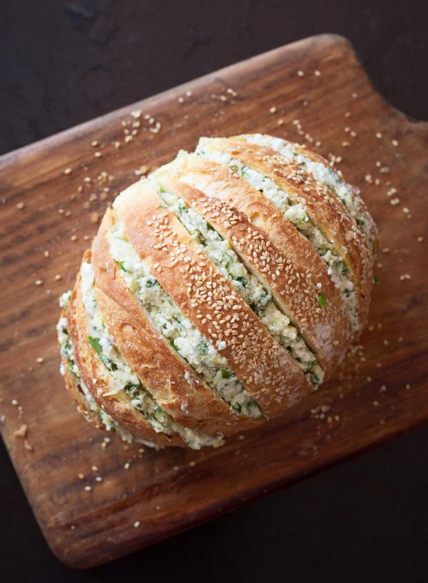 Aubergine, garlic & feta stuffed loaf