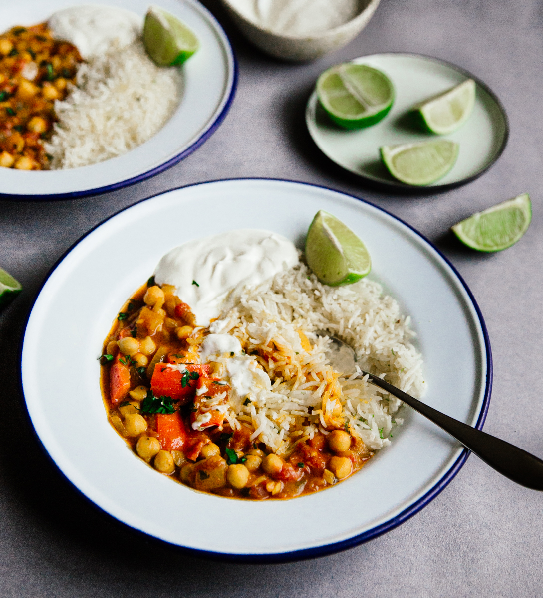 Chickpea & red pepper coconut curry