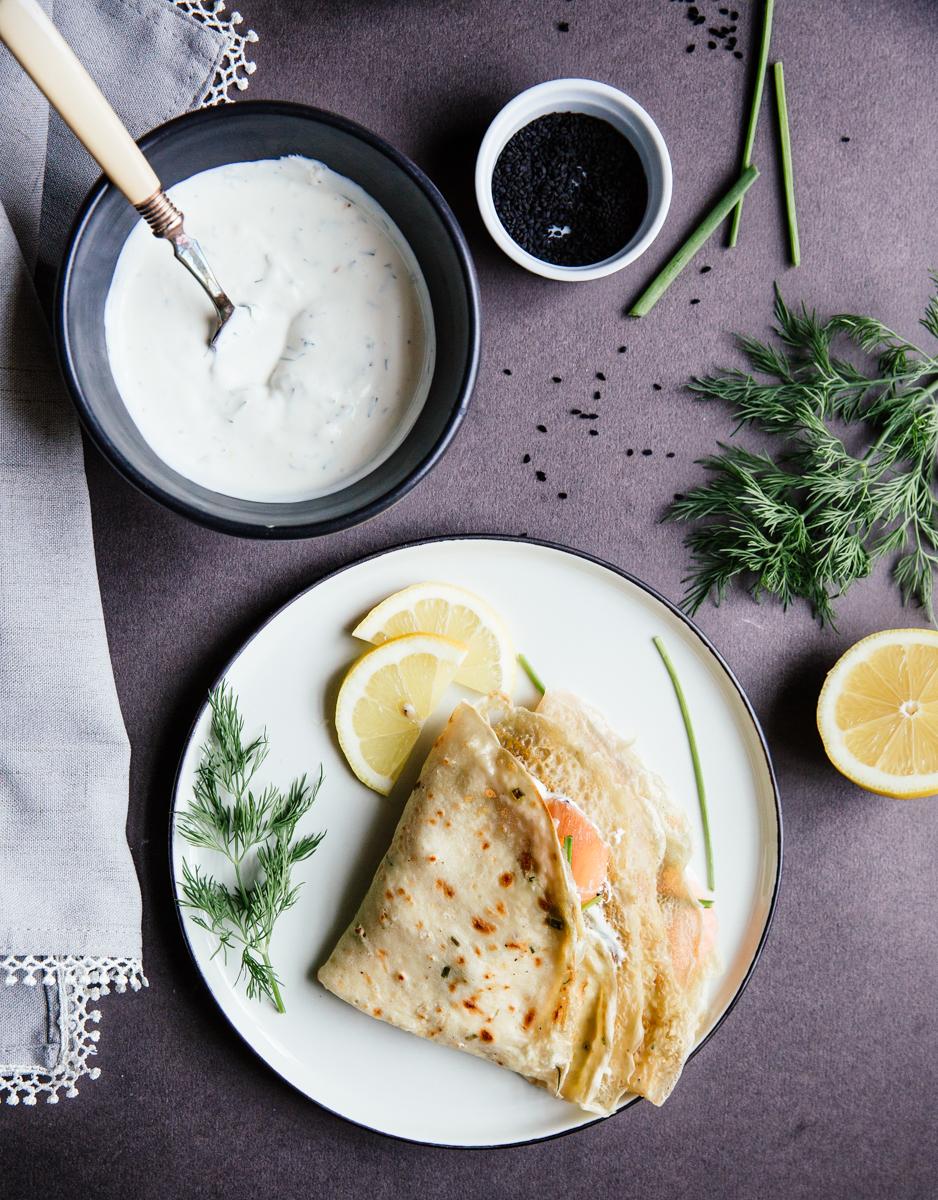Salmon & cream cheese crêpes