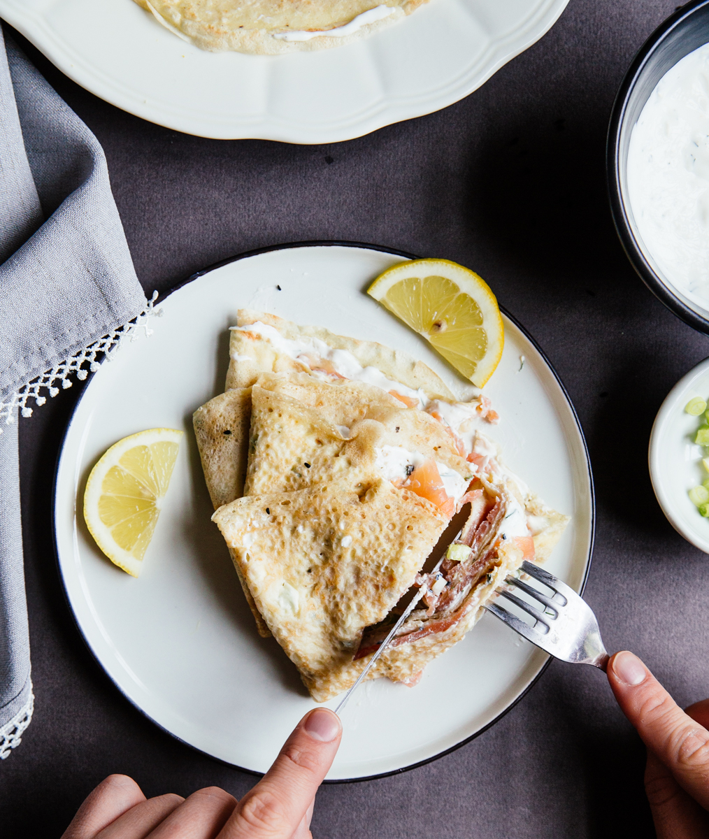 Salmon & cream cheese crêpes