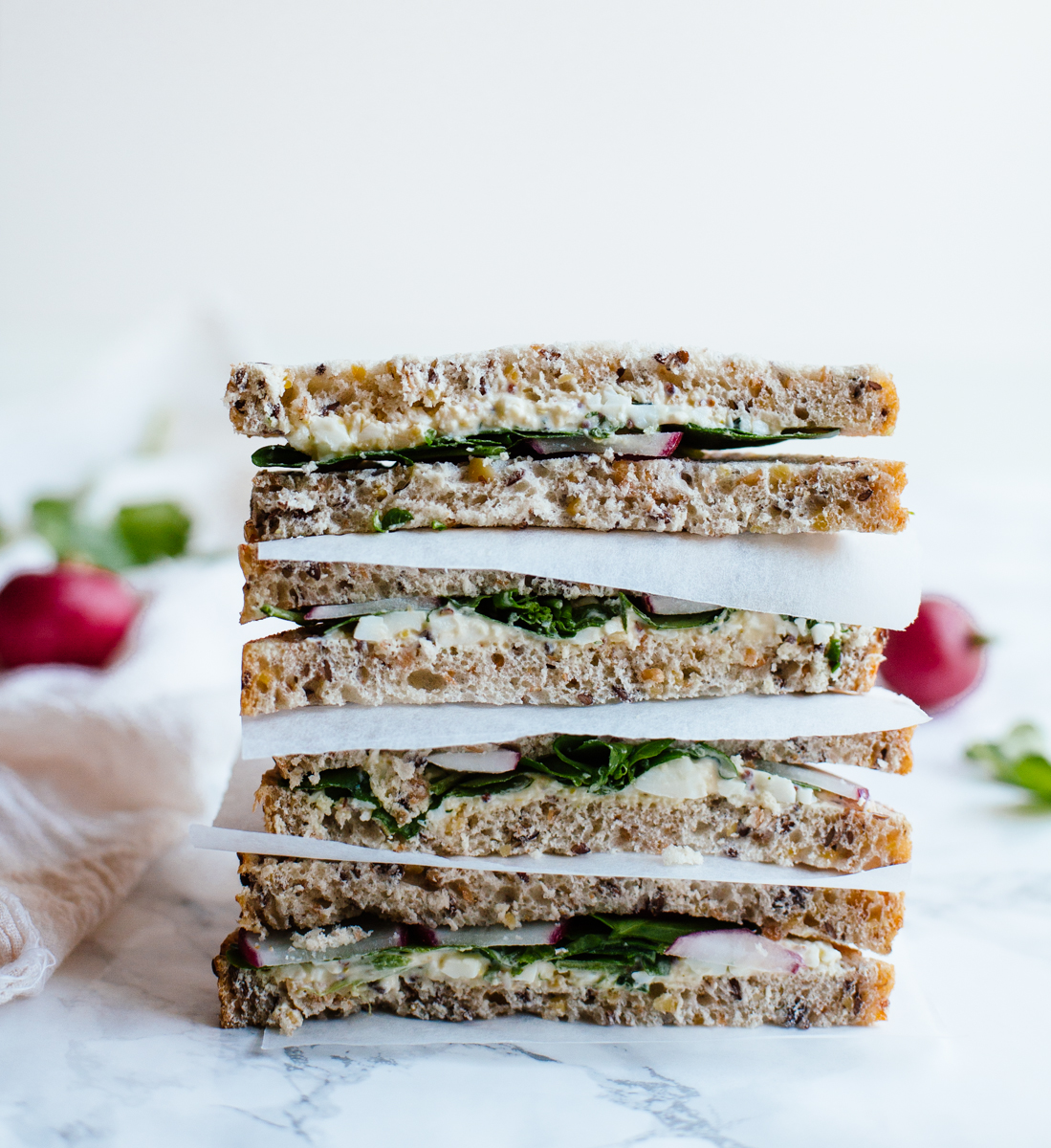 Egg, cress & radish sandwich