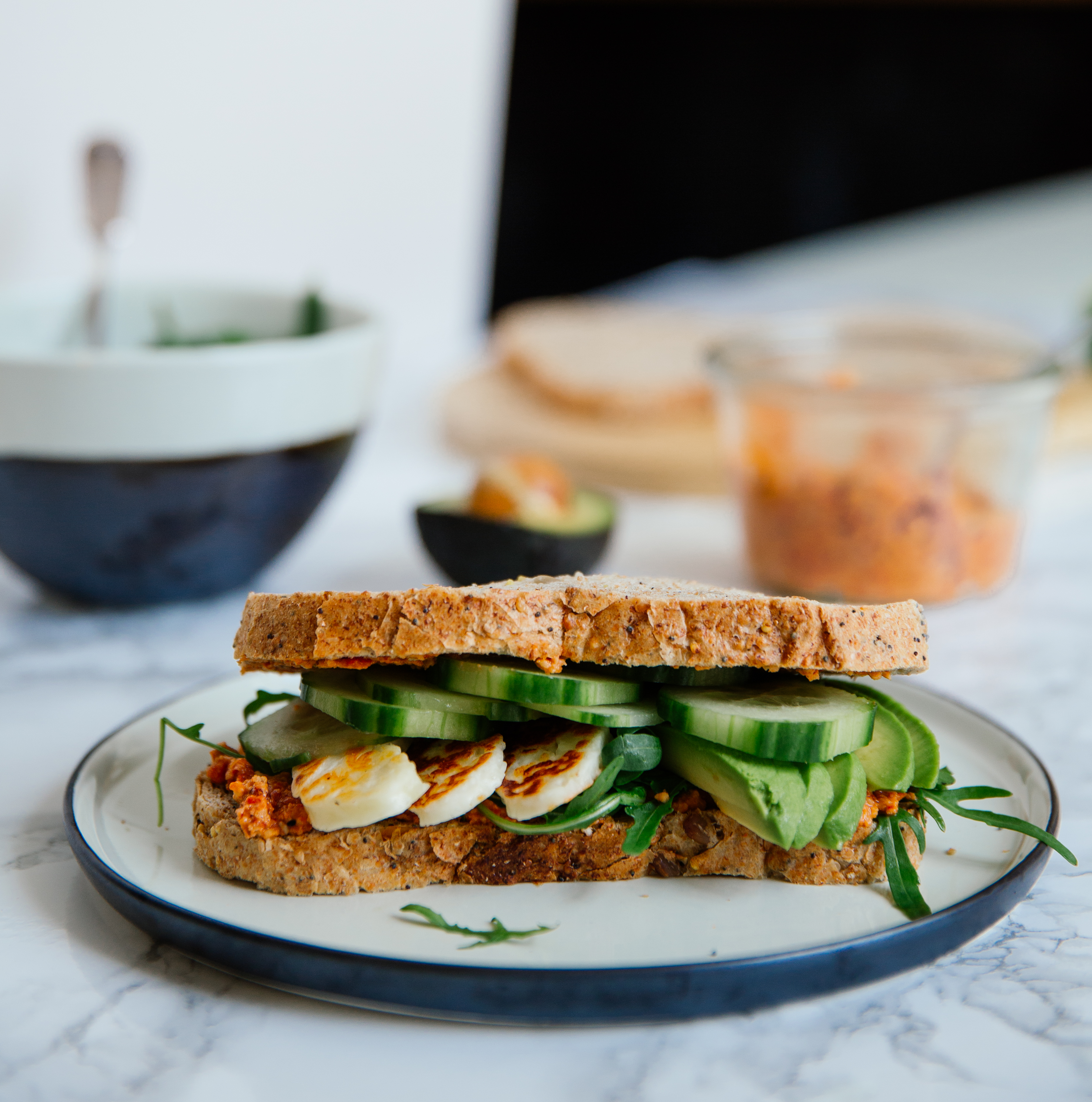 Halloumi, avocado & red pepper sandwich