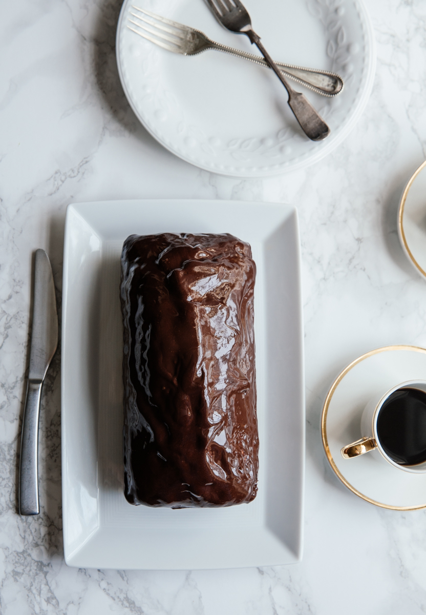 Espresso loaf with cinnamon dark chocolate ganache