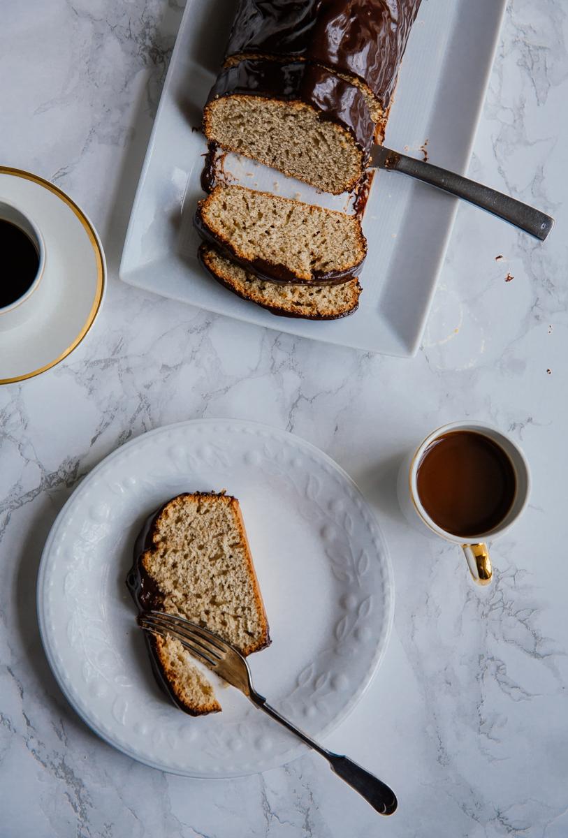 Espresso loaf with cinnamon dark chocolate ganache