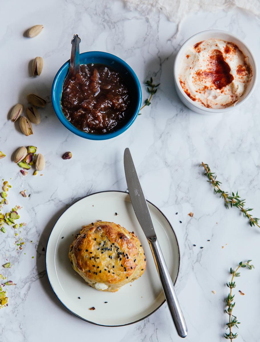 Feta, thyme & pistachio scones