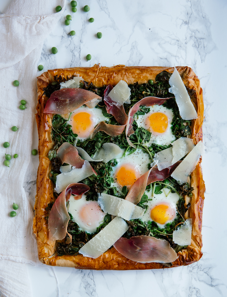 Fresh pea, watercress & egg tart