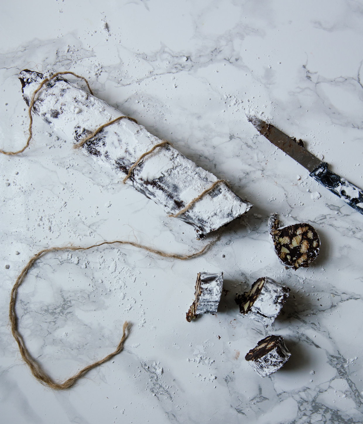 Almond & white chocolate salami