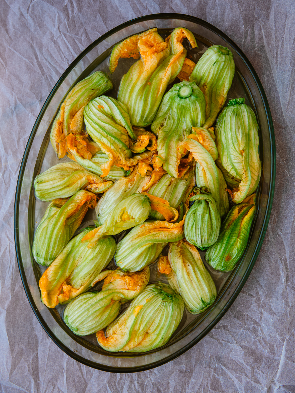 Courgette flower & pine nut omelette