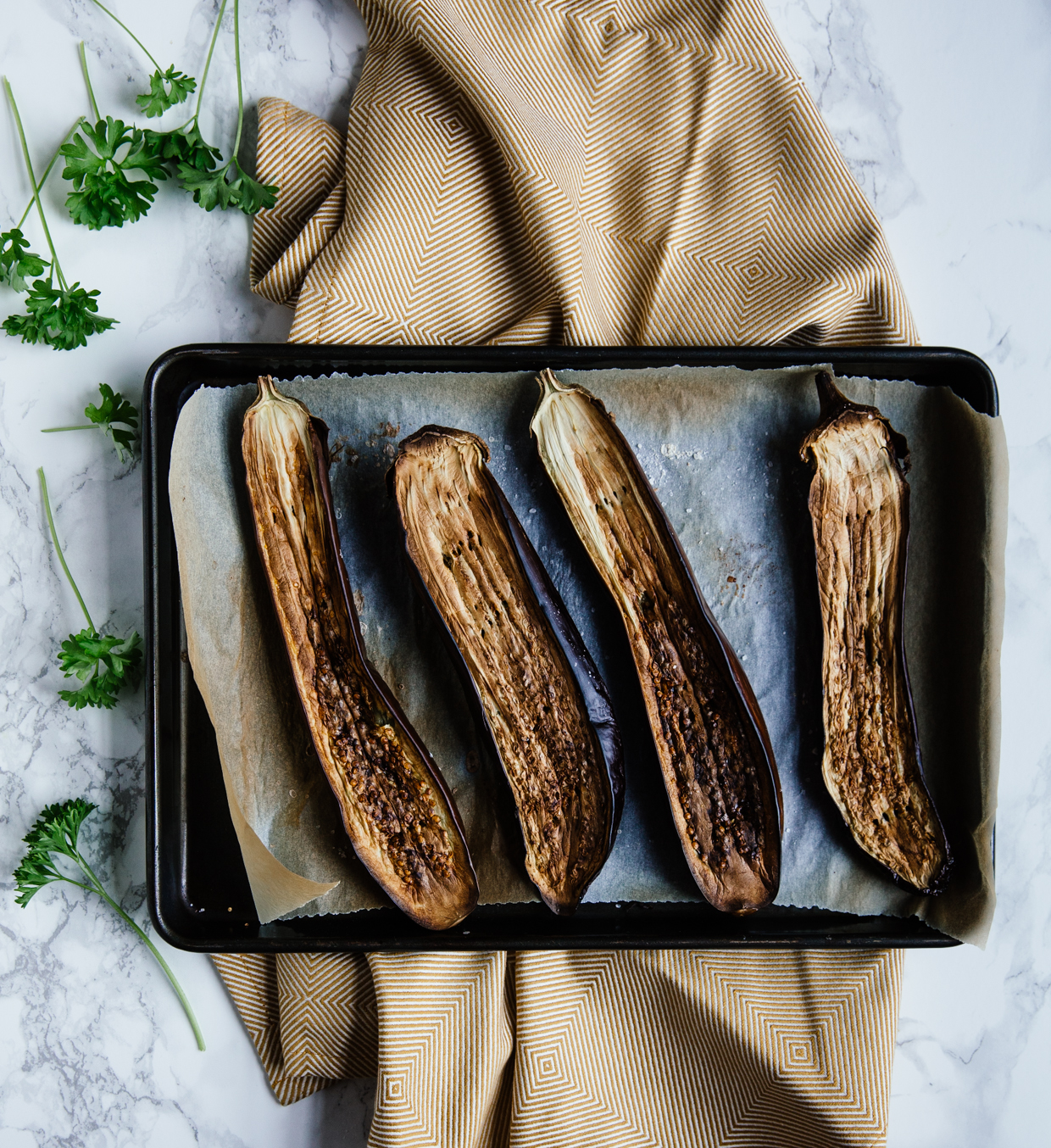 Roasted aubergine & smoked mackerel crostini