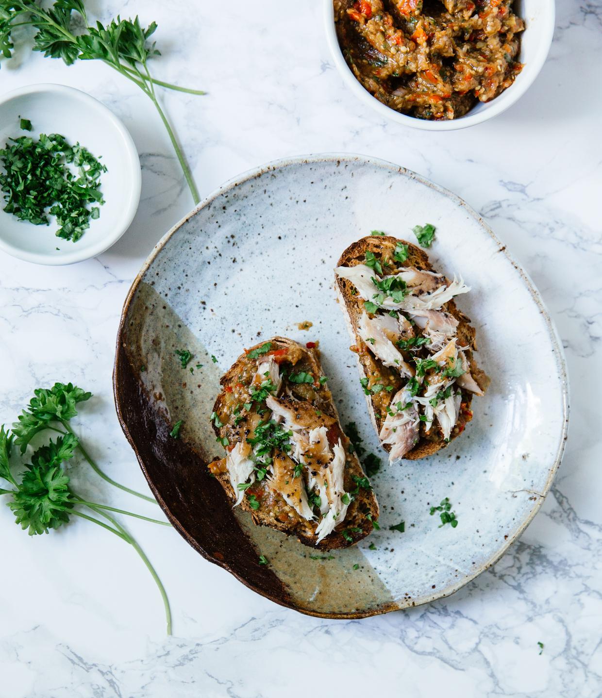 Roasted aubergine & smoked mackerel crostini