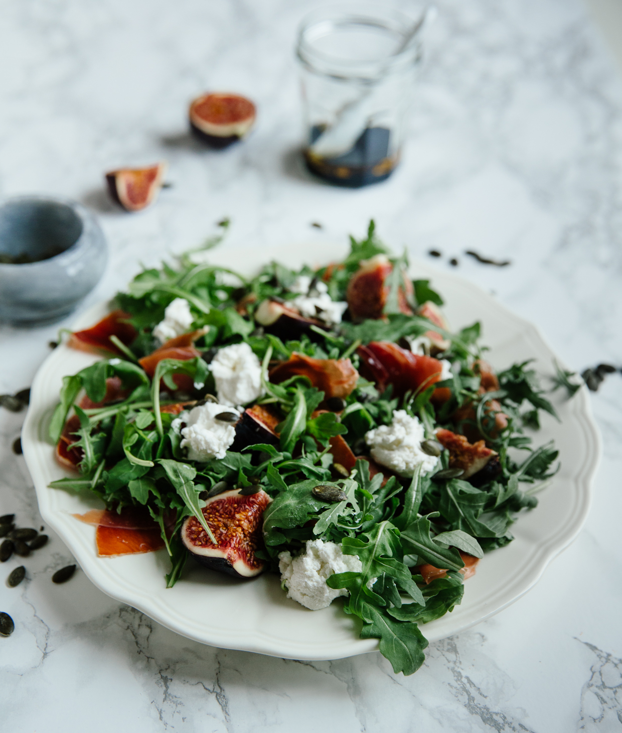 Fig, goat cheese & serrano ham salad