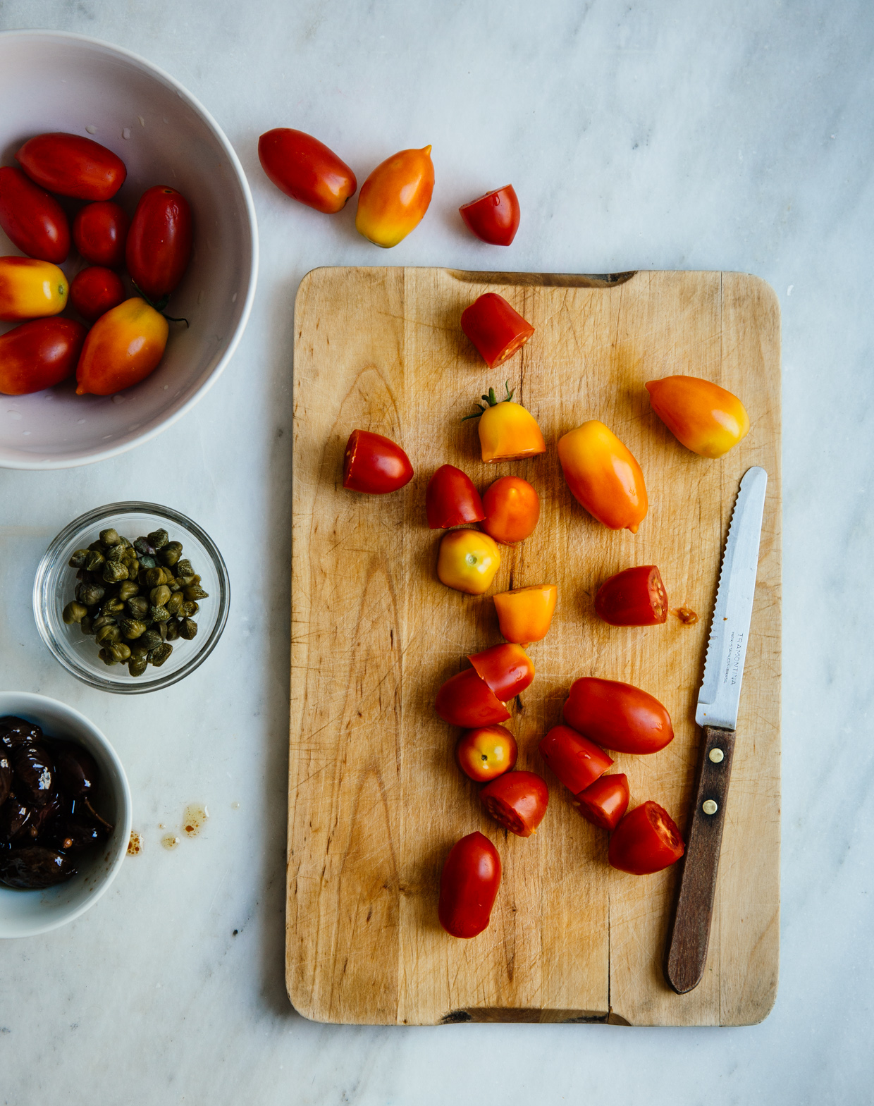 Cherry tomato, sardine & olive pasta