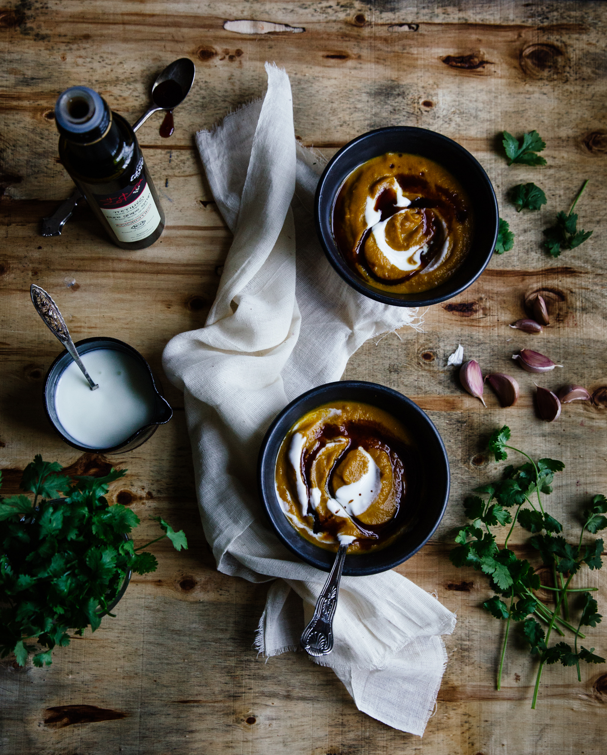 Carrot soup with buttermilk & grape molasses
