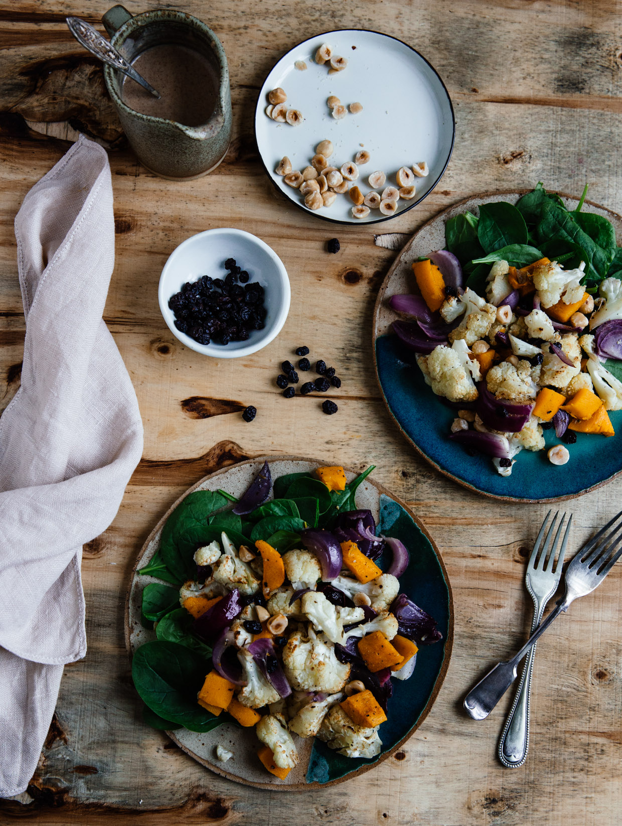 Cauliflower, spinach & hazelnut salad with peanut butter dressing