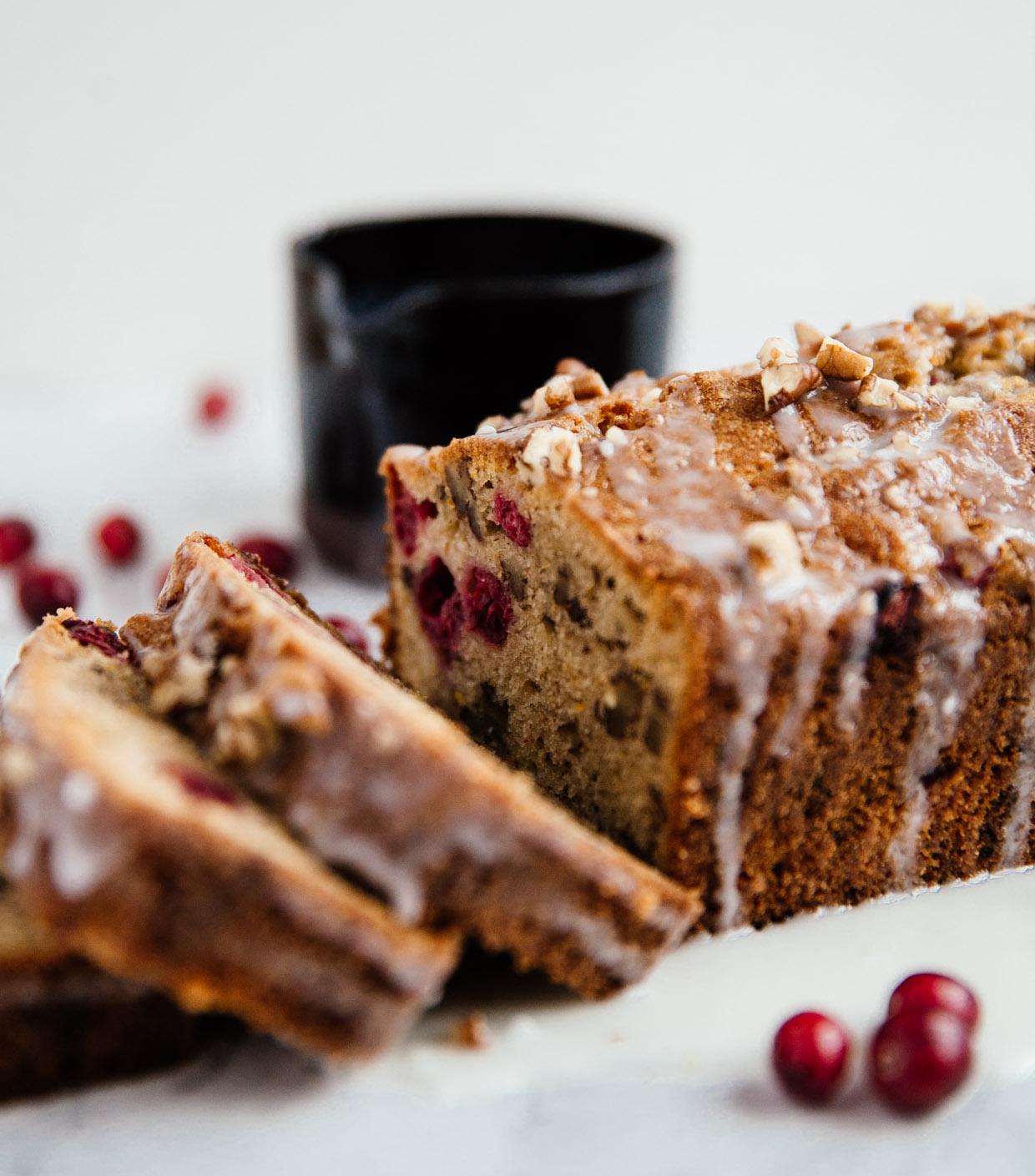 Cranberry, citrus & pecan brown butter cake