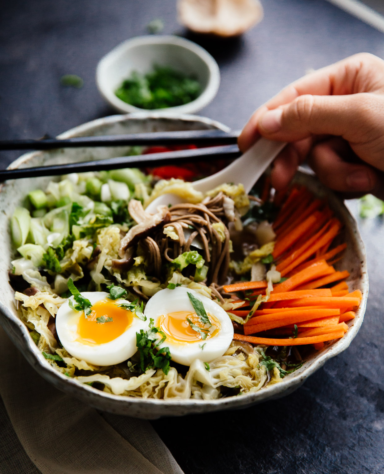 Spicy savoy cabbage & shiitake miso soup