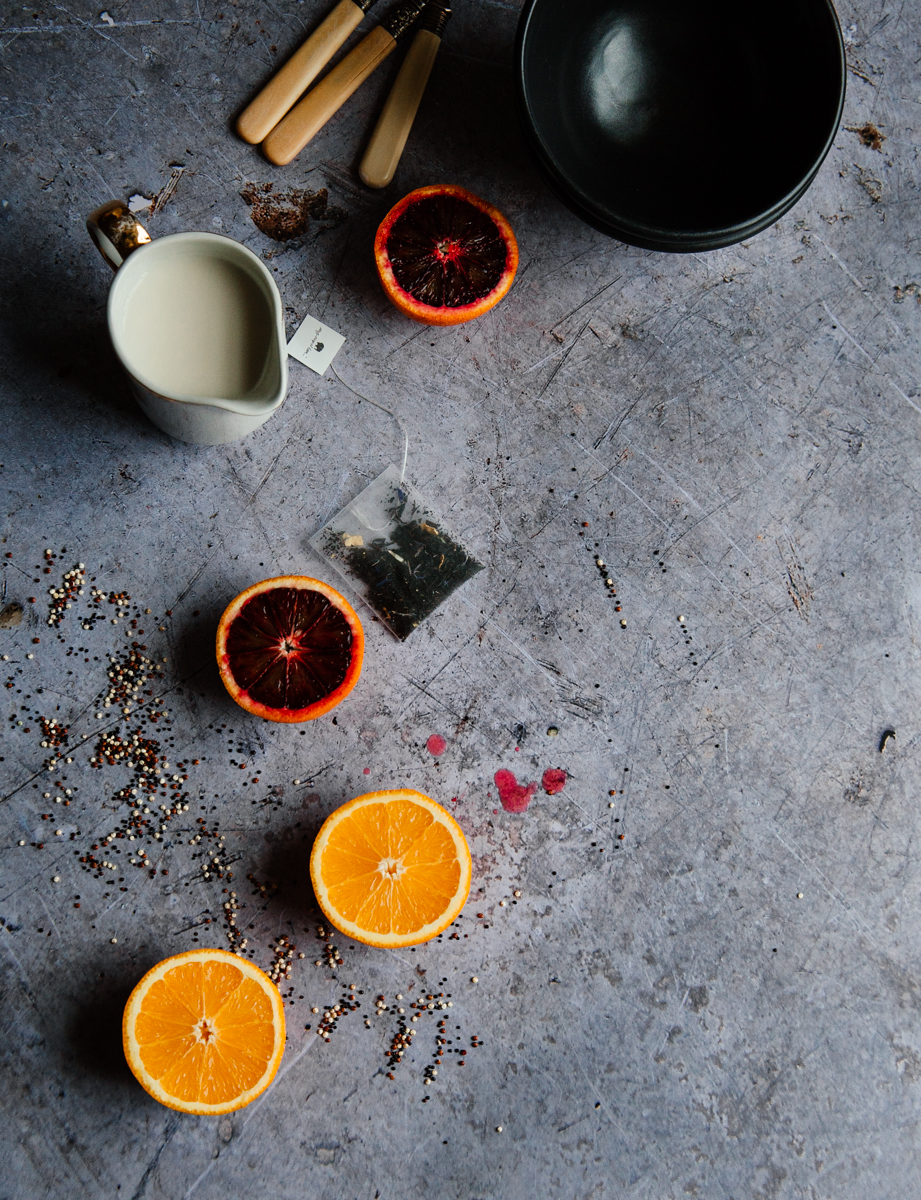 Earl grey breakfast quinoa with tahini & jam