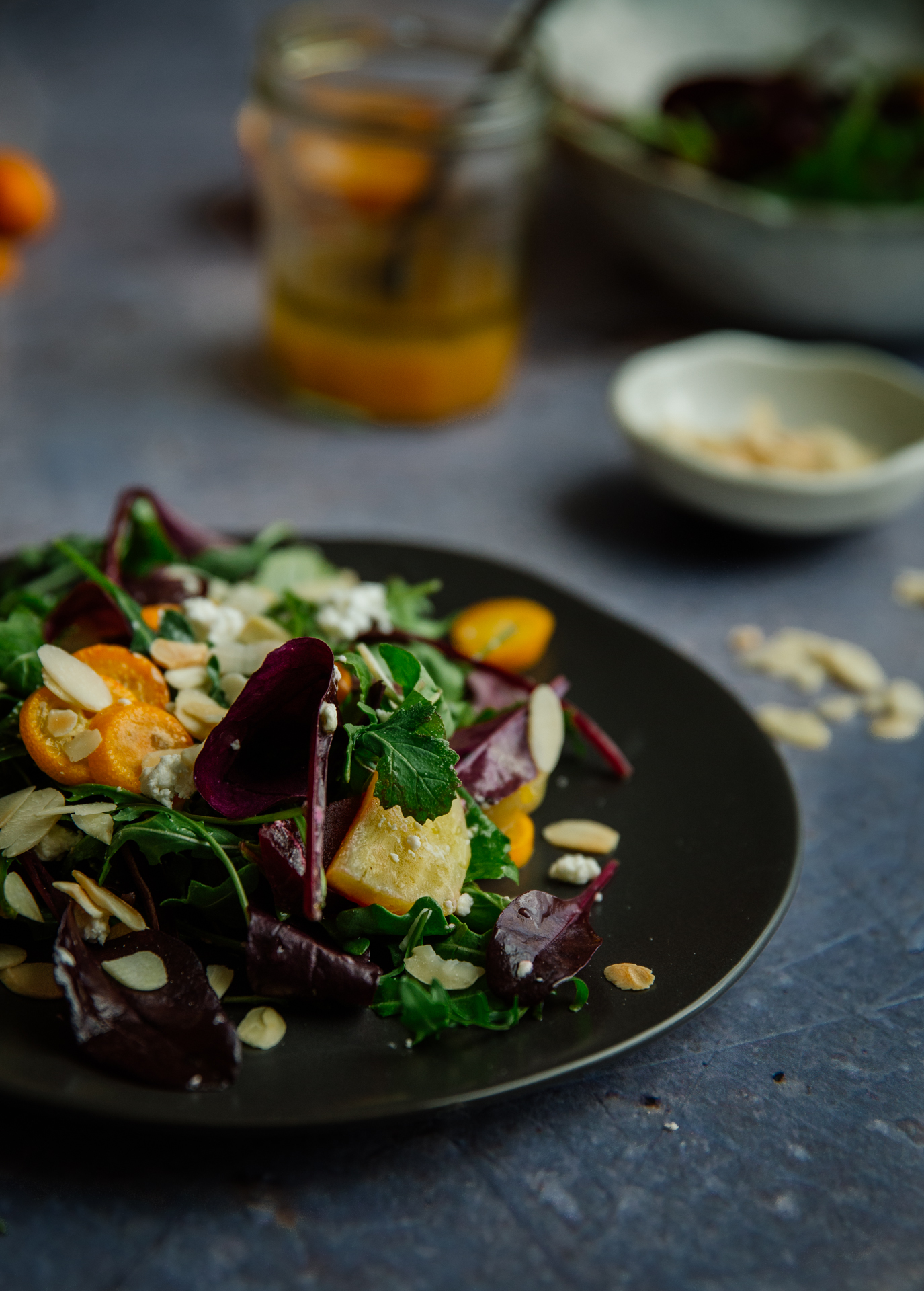 Beet & kumquat salad with maple & blood orange dressing
