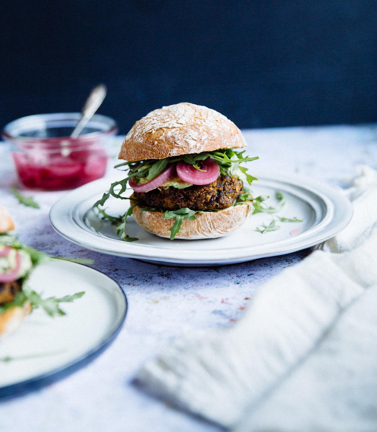 Quinoa, red bean & mushroom veggie burger