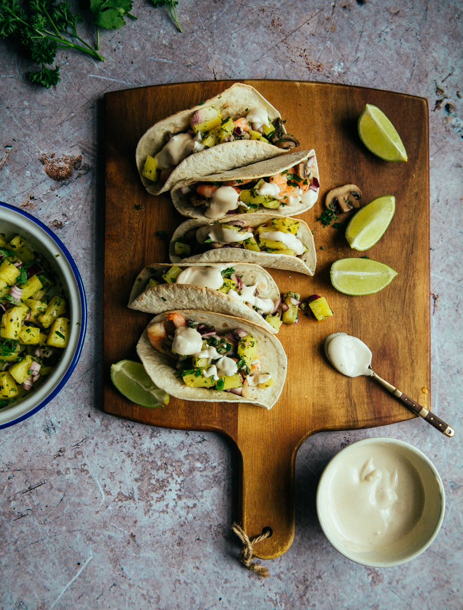 Mushroom & prawn tacos with spicy pineapple & lime salsa