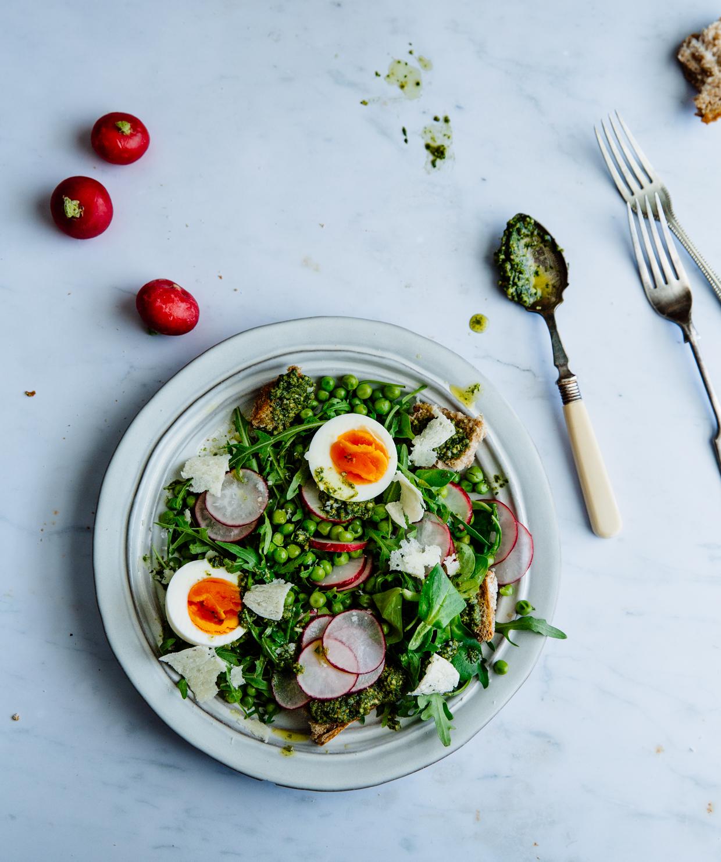 Pea, pesto & egg salad with radishes & sourdough