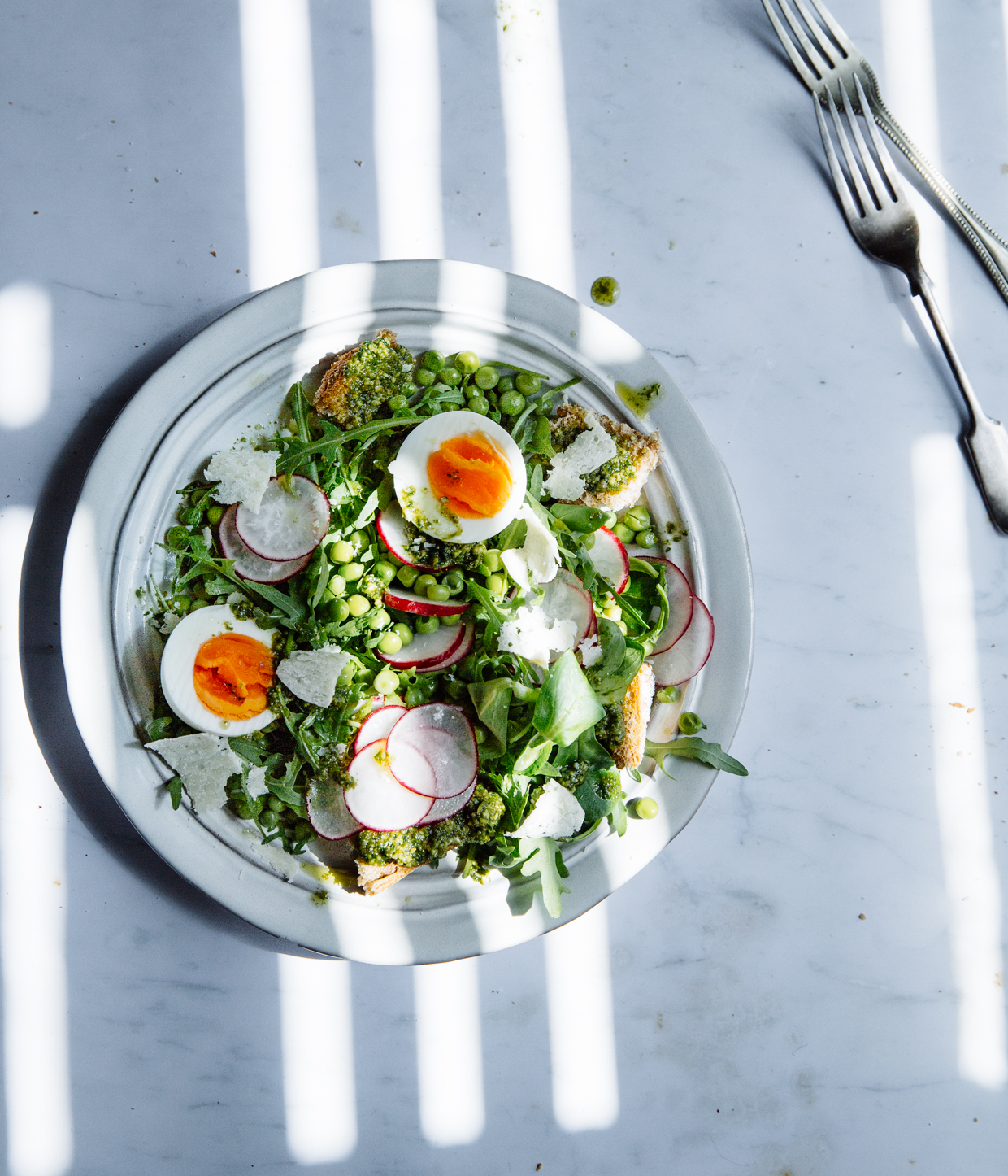 Pea, pesto & egg salad with radishes & sourdough