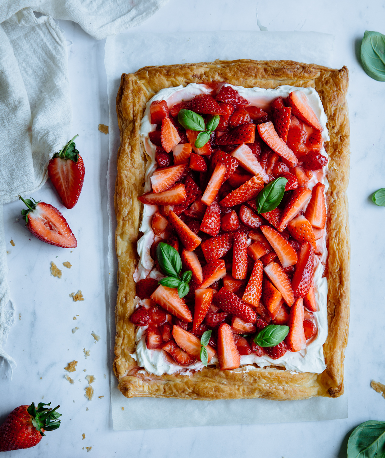 Strawberry, basil & lime cream cheese tart