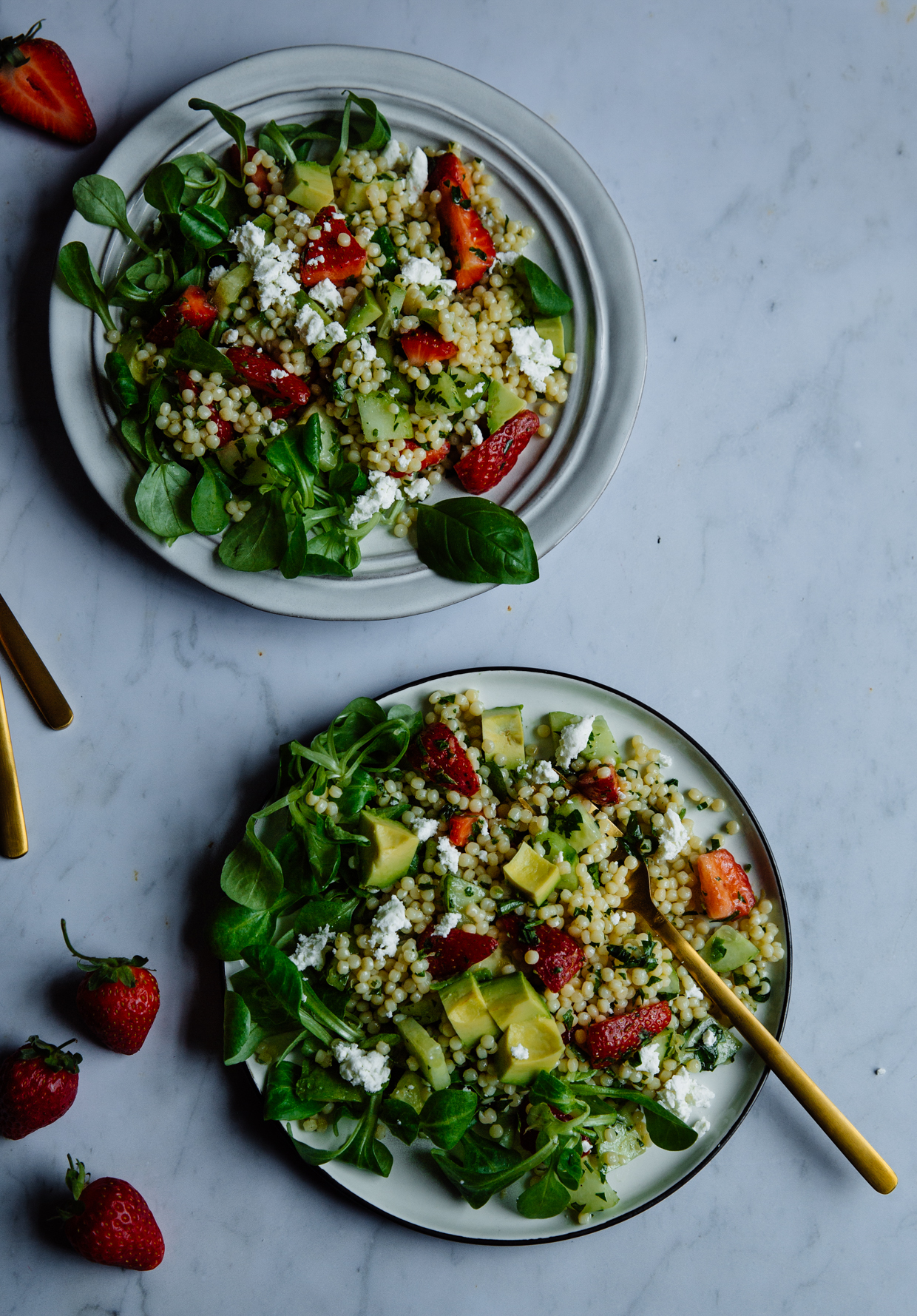 Strawberry, avocado & cucumber giant couscous salad