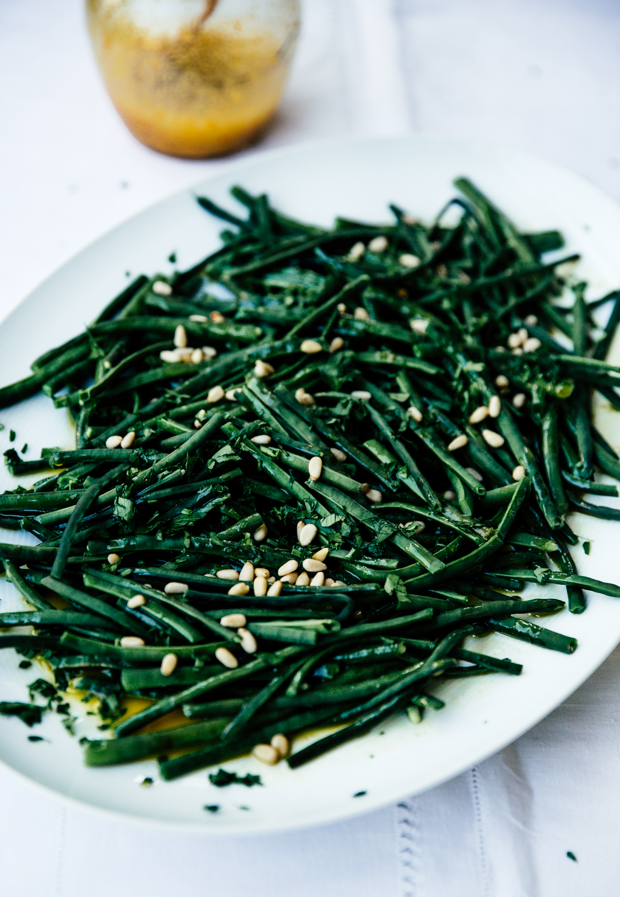 String beans with saffron, lemon & mustard vinaigrette