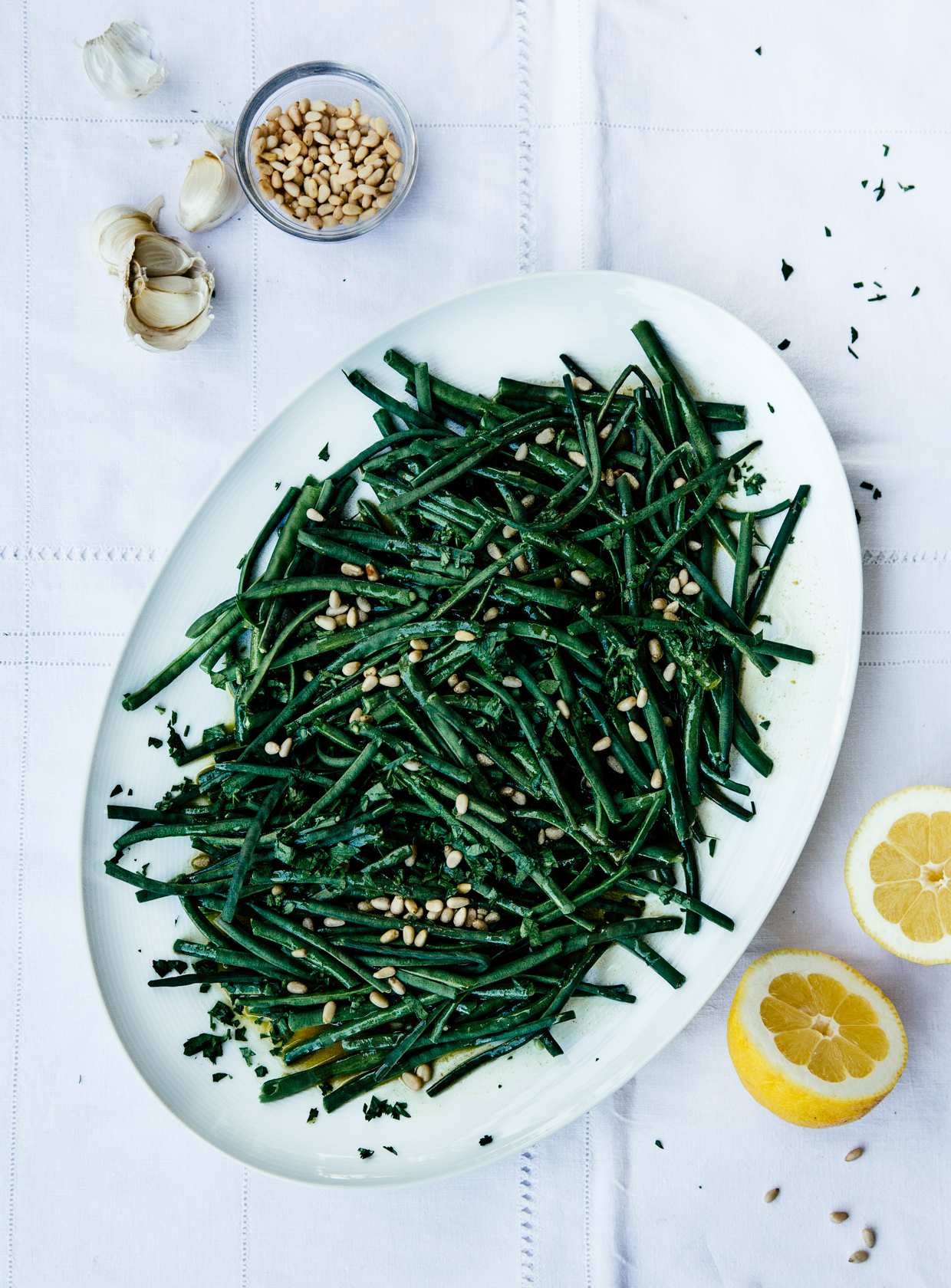String beans with saffron & mustard vinaigrette