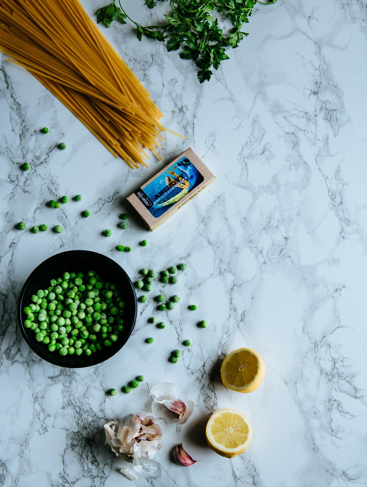 Anchovy, pea & garlic lemony tagliatelle