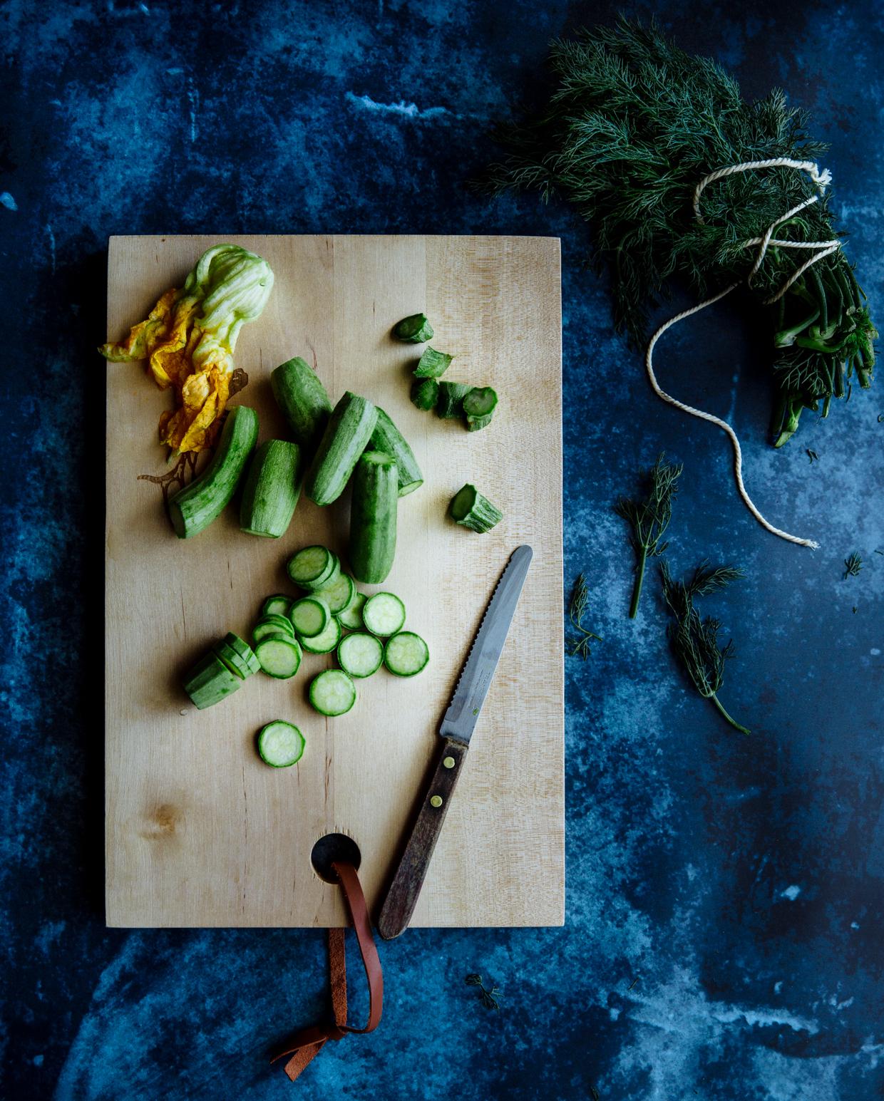 Zucchini & smocked trout spaghetti