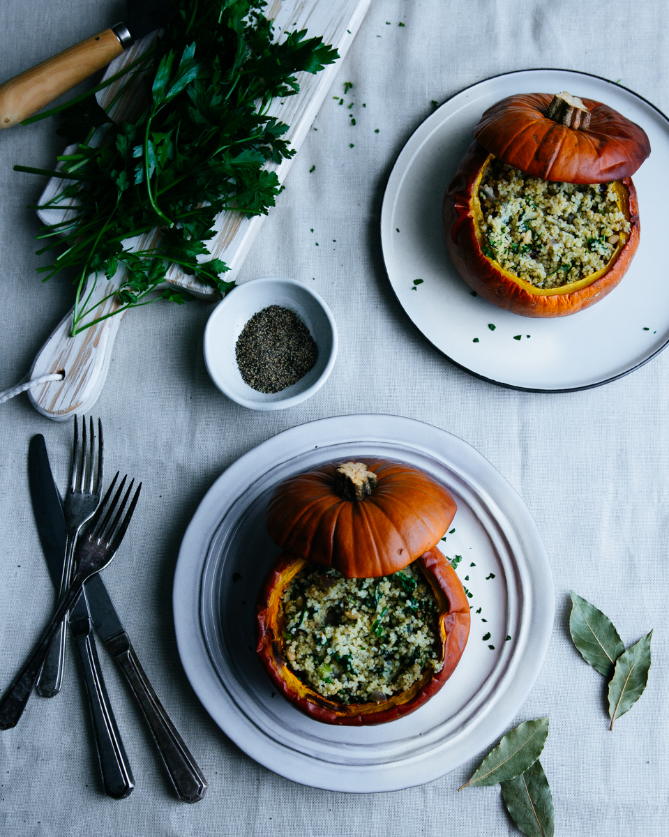 Baked pumpkins, stuffed with couscous, blue cheese & pine nuts