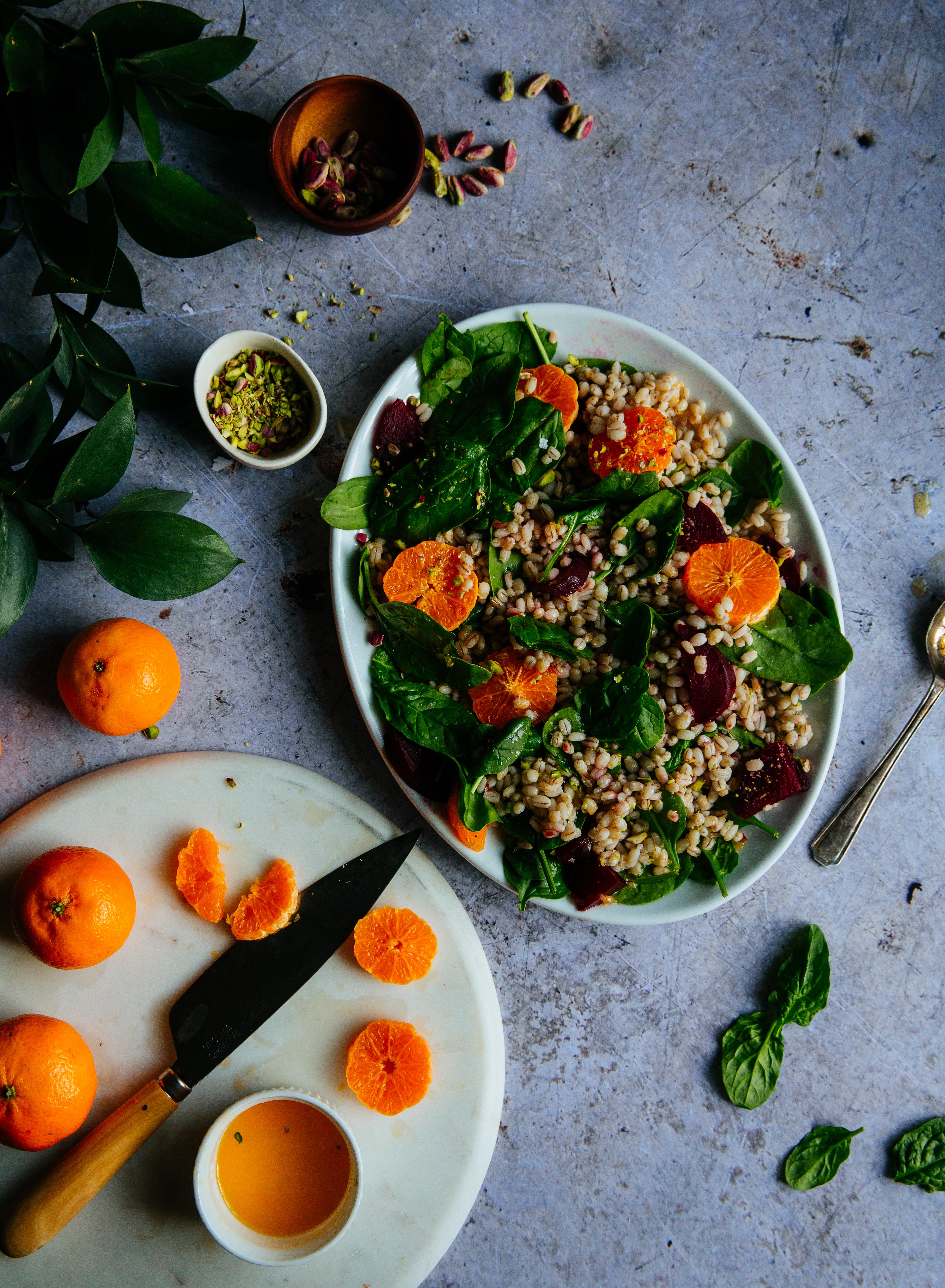 Mandarine, beet & pistachio barley salad